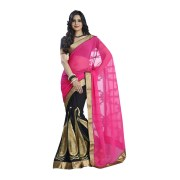 Ynk's Pink And Black Georgette Saree