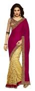 purple satin & brasso half half sari