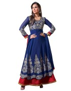 Blue Colour Chiffon Embroidered Dress Material