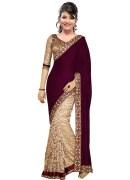 Stylish Designer magenta velvet sari