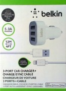 Belkin 3-port USB Car Charger & Cable for iphone5/5S/iphone6/iPod/Ipad