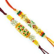 Aarav Collection Graceful Golden Base Diamond, Colorful Beads Rakhi Set