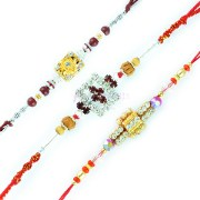 Aarav Collection Admirable Glass and Golden Base Diamond Brother Rakhi
