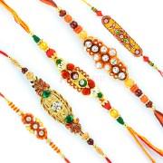 Aarav Collection Rakhi Set of 5 - Rakhi Sets