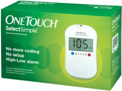 Johnson & Johnson One Touch Select Simple Glucometer with 10 Strips (Expiry- June 2016