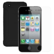 Amzer Silicone Jelly Case with Crystal Screen Protector for iPhone 4S, iPhone 4 - 46176