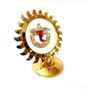 Ganesha Metallic Frame For Car Dash Board Fiber Enclosed Red Colour Idol