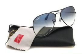 Rb3026 Aviator Style Designer Sunglasses Black Frame/light Blue Gradient