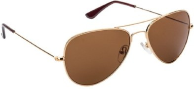 Golden Brown Aviator Aviator Sunglasses