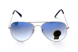 Rb3026 Aviator Style Designer Sunglasses Silver Frame/light Blue Gradient