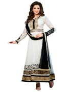 Click Sarees White  Color Georgette Semi Stitched Salwar Suit Dupatta.