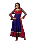 Click Sarees Blue Color Net Semi Stitched Salwar Suit Dupatta.