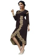 Click Sarees Black Color Georgette Stiched Kurti.