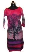Virasat (VFA)-Pink,purple & black color cotton printed kurti