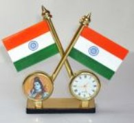 Shivji Idol Flag India Gold Plated Clock