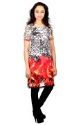 Printed Georgette And Crape Lining Long Kurti