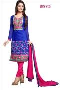 Blissta Chanderi Cotton Embroidered Salwar Suit For Women - pari01