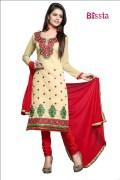Blissta Chanderi Cotton Embroidered Salwar Suit For Women - pari02