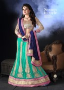Dark Green & Navy Blue Coloured Self Design Women's Lehenga Choli