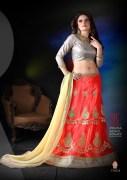 Orange & Cream Coloured Self Design Women's Lehenga Choli