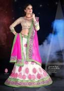Off White & Pink Coloured Self Design Women's Lehenga Choli