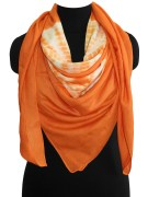 Long Square orange print scarf